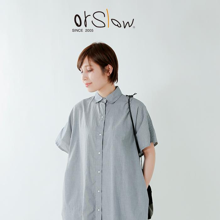or slow(オアスロウ)キモノスリーブチェックシャツワンピース 00-9515