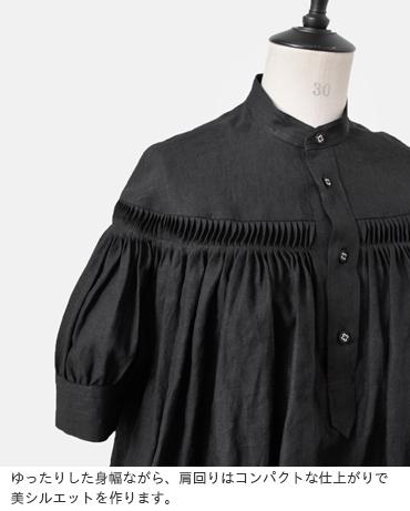 Scye(サイ)リネン高密度半袖タックブラウス1219-31029