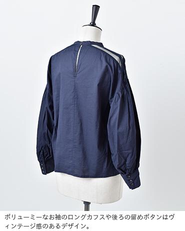 cardo fabrica(カルドファブリカ)コットンローン肩ヨークレースピンタックブラウス 34-01-bl-003-19-1