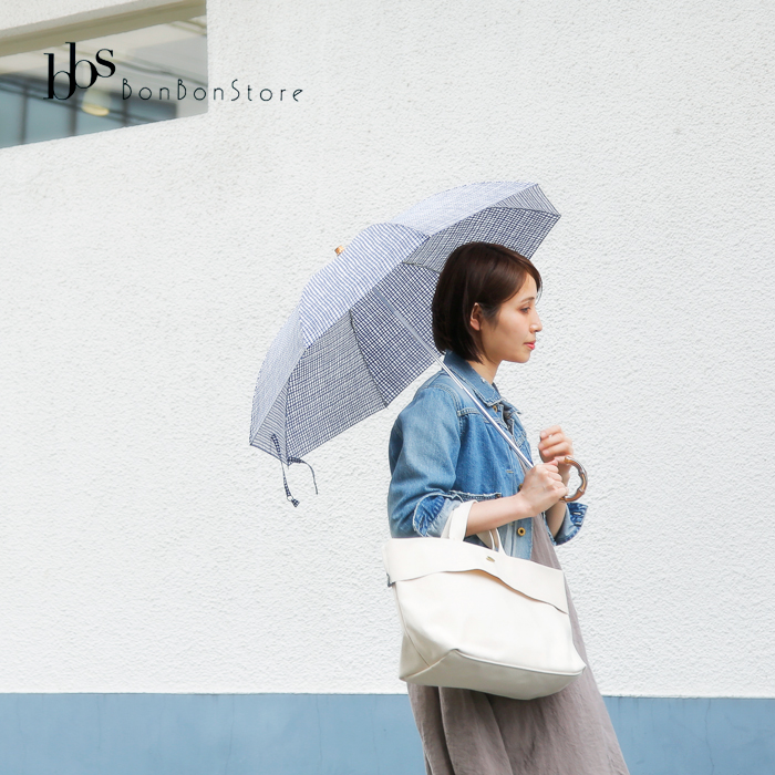 Bon Bon Store(ボンボンストア)晴雨兼用 防水&UV撥水加工 ドローイングチェック折りたたみ傘 bon-19004