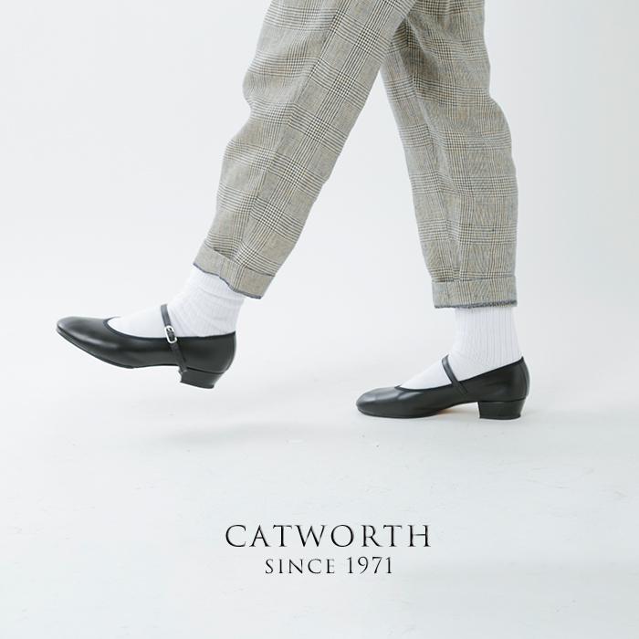CATWORTH(キャットワース)イタリアンカーフローヒールストラップパンプス cat06