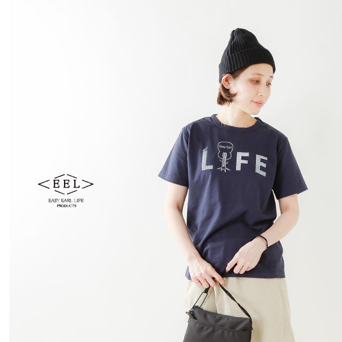 """EEL(イール)コットンプリントTシャツ""""LIFE"""" e-19519"""