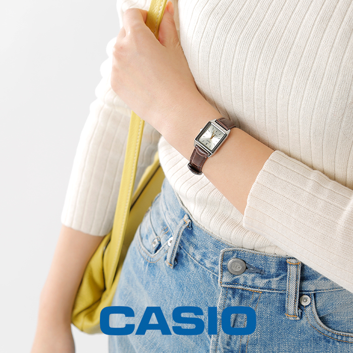 CASIO(カシオ)スクエアケースレザーベルト腕時計 ltp-v007l