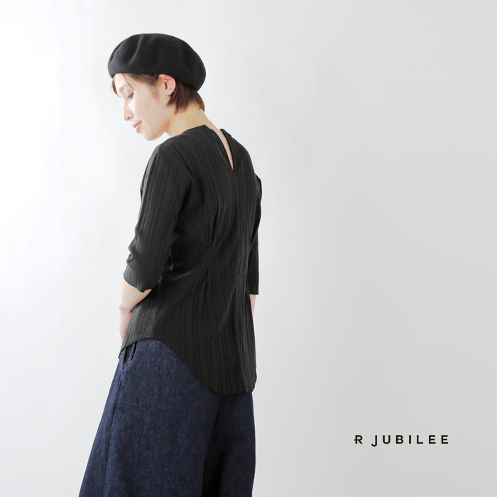 R JUBILEE(アール ジュビリー)ウエストタックリブコットン七分袖Tシャツ  rj19039047