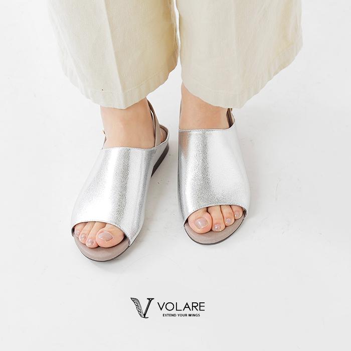 """volare(ヴォラーレ)バックストラップフラットメタリックレザーサンダル""""SANDALOPENTOE2TONE""""sandal-open-toe-2t"""
