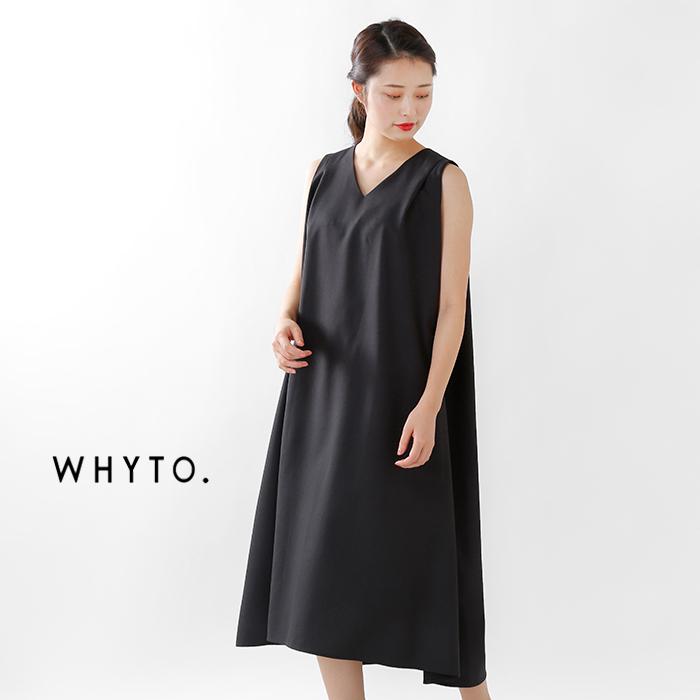 whyto(ホワイト)リネンライクフレアーラインVネックノースリーブワンピースwht19hop6