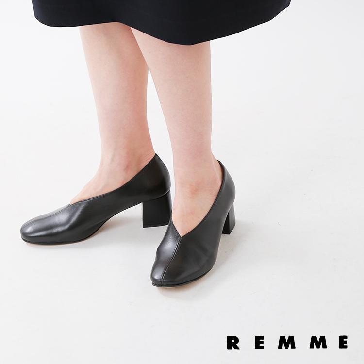 REMME(レメ)甲深レザーチャンキーヒールパンプス ja-6433-so