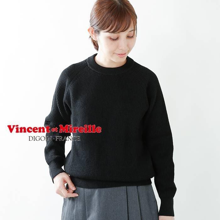 Vincent et Mireille(ヴァンソン エ ミレイユ)8GG畦編みウールクルーネックニットプルオーバー vm202wa13012