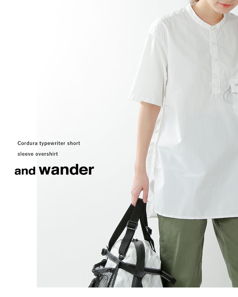 and wander(アンドワンダー)コーデュラタイプライターショートスリーブオーバーシャツ 574-0983002