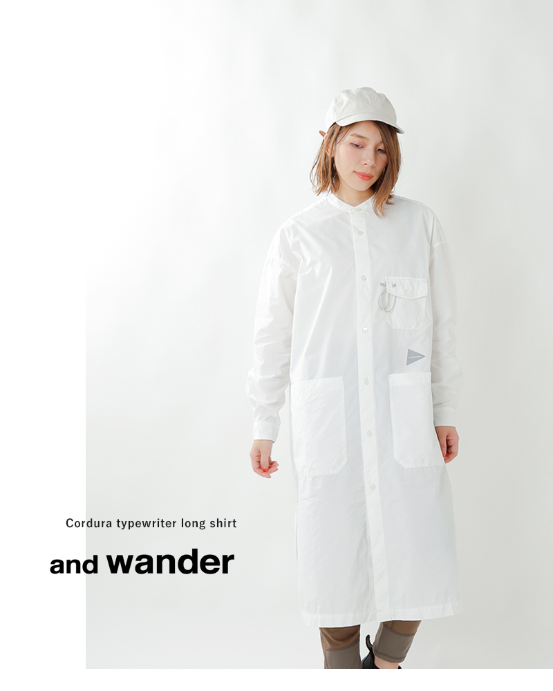 and wander(アンドワンダー)カラビナ付きコーデュラタイプライターロングシャツ 574-0983003