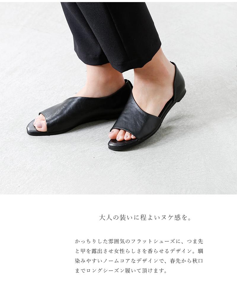 yuko imanishi+(ユウコイマニシプラス)キップレザーオープントゥシューズ 781002
