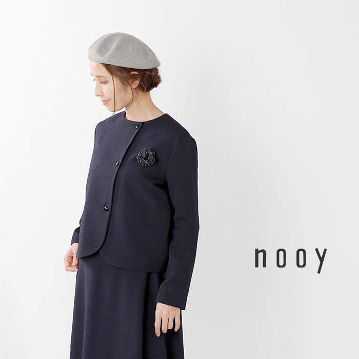 nooy(ヌーイ)ブークレジャガードブラックノーカラージャケット fjk04