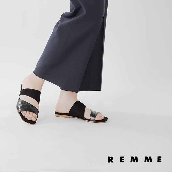REMME(レメ)レザーフラットサンダル he-352