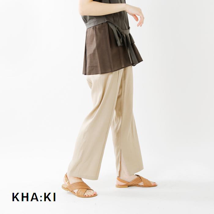 kha:ki(カーキ)リネンストレッチイージースリットパンツ mil-20hpt118