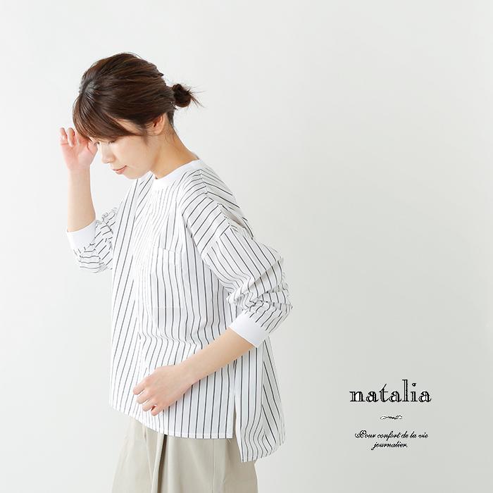 natalia(ナターリア)コットンタイプライターロングスリーブTシャツブラウス n0204