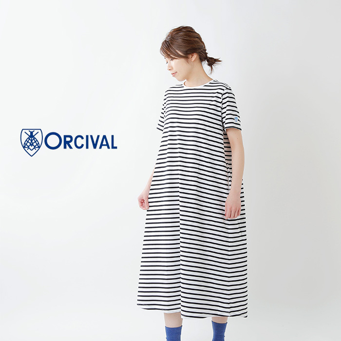 ORCIVAL(オーチバル・オーシバル)40/2ストライプショートスリーブワンピースrc-9216