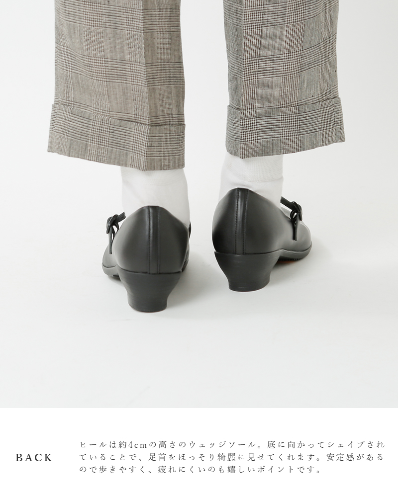 TRAVEL SHOES by chausser(トラベルシューズバイショセ)レザーウエッジソールワンストラップシューズ tr-006