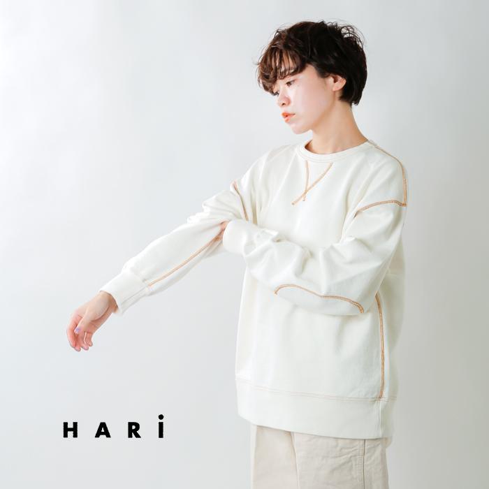 HARi(ハリ)コットンエルボーパッチステッチクルーネックスウェットシャツ 5006