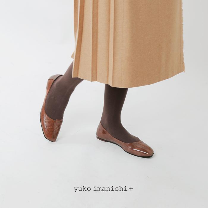 yuko imanishi+(ユウコイマニシプラス)ゴートレザーアシンメトリーカットフラットパンプス 711073