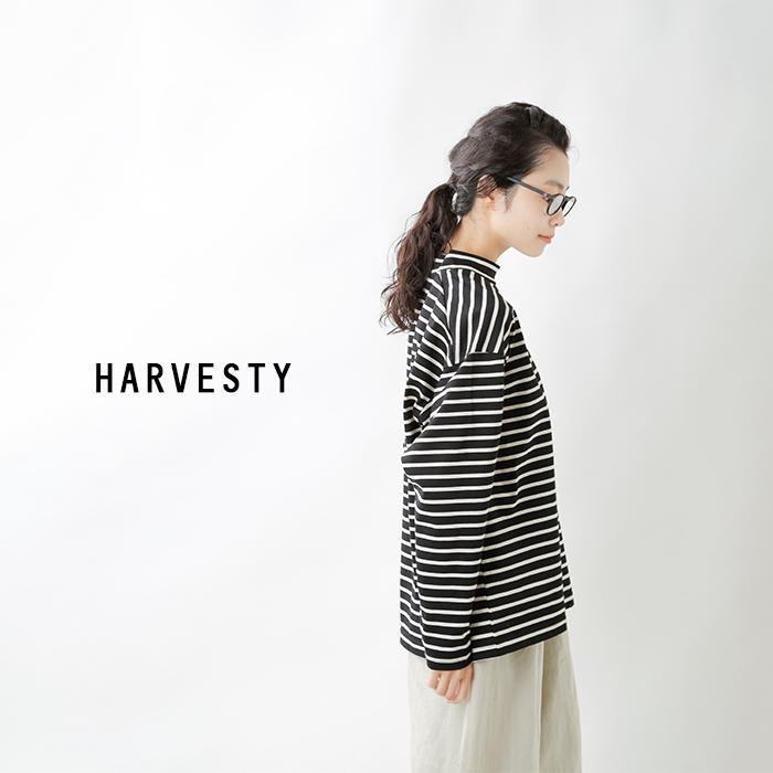 HARVESTY(ハーベスティ)コットンシルケットボーダーモックネックロングスリーブTシャツ a52111