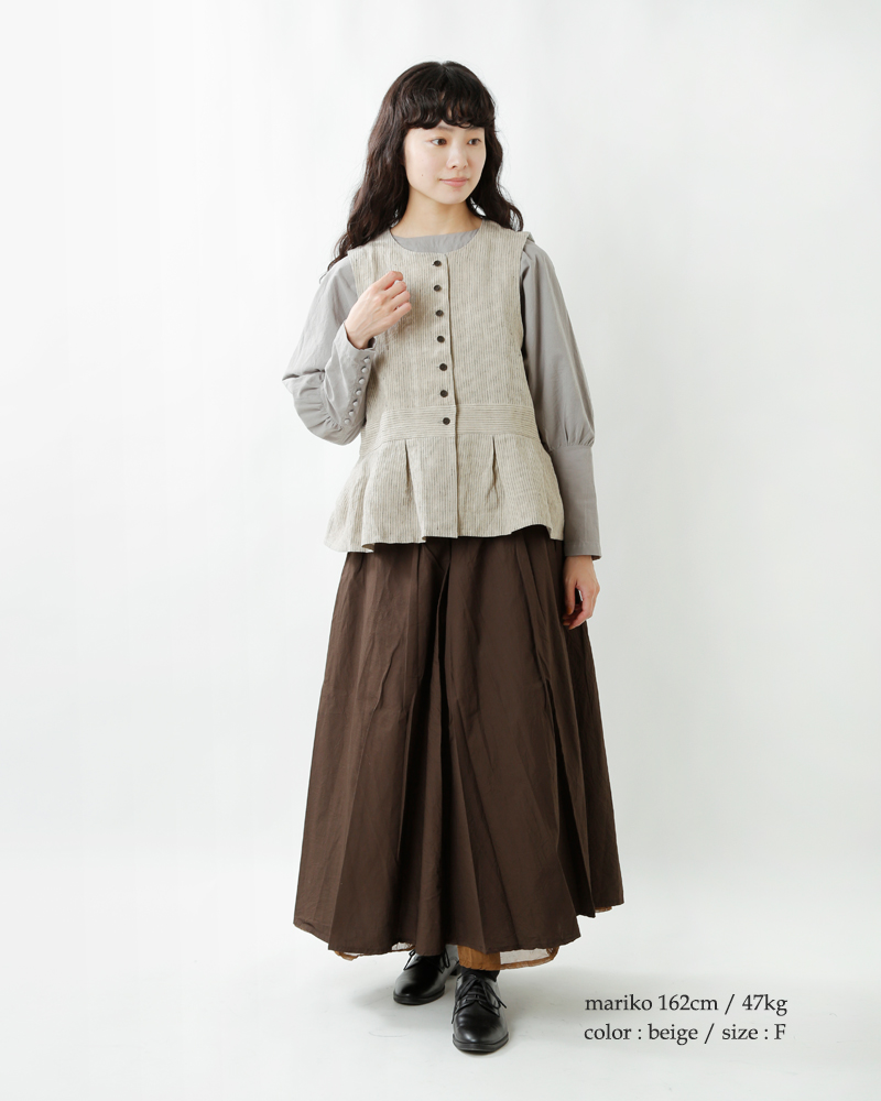 MAGALI(マガリ)ストライプリネンベルジェールジレ bl150-18000