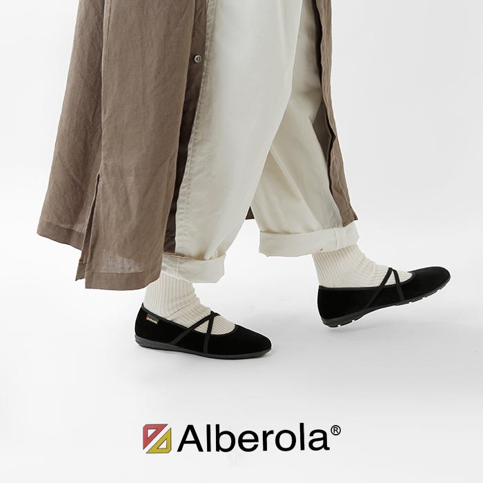 ALBEROLA(アルベローラ)ベルベットバレエシューズl179g