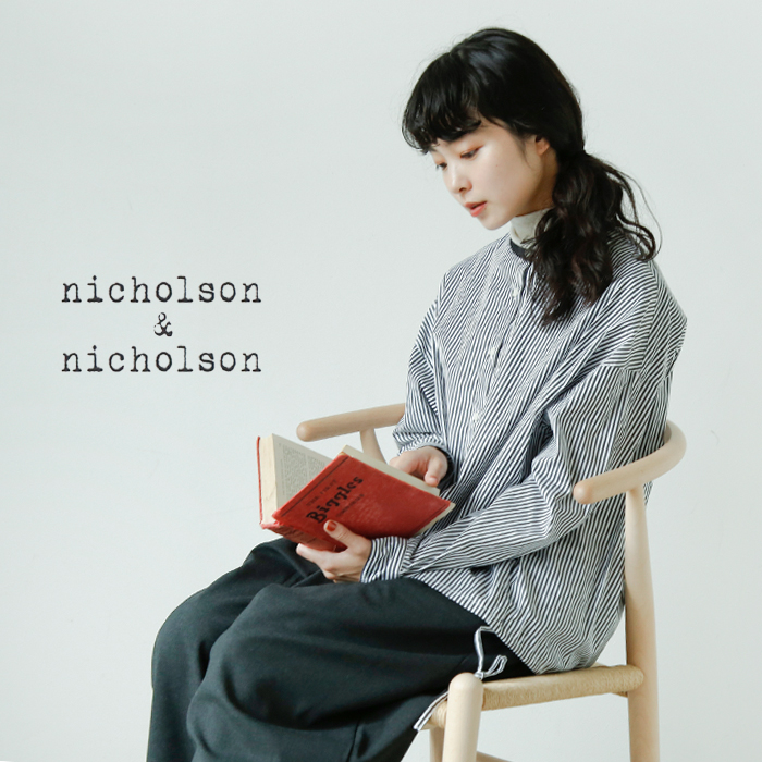 nicholson and nicholson(ニコルソンアンド ニコルソン)aranciato別注 クレリックロングスリーブシャツ london