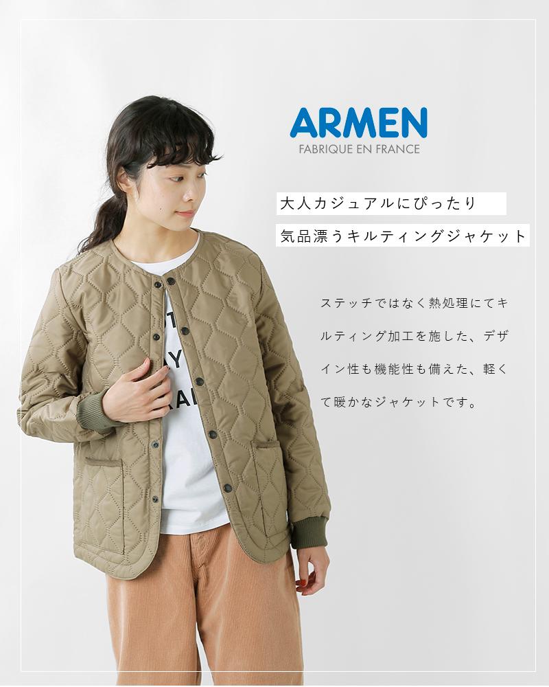 ARMEN(アーメン)キルティングカフスリブノーカラージャケットnam2151pp