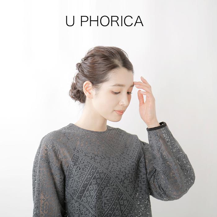 U PHORICA(ユーフォリカ)オーガニックコットン幾何学レースボリュームスリーブブラウス u24-03048-13