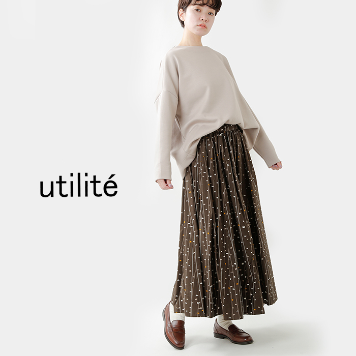 utilite(ユティリテ)コットンオリジナルプリント ギャザーフレアスカート ut104aw62