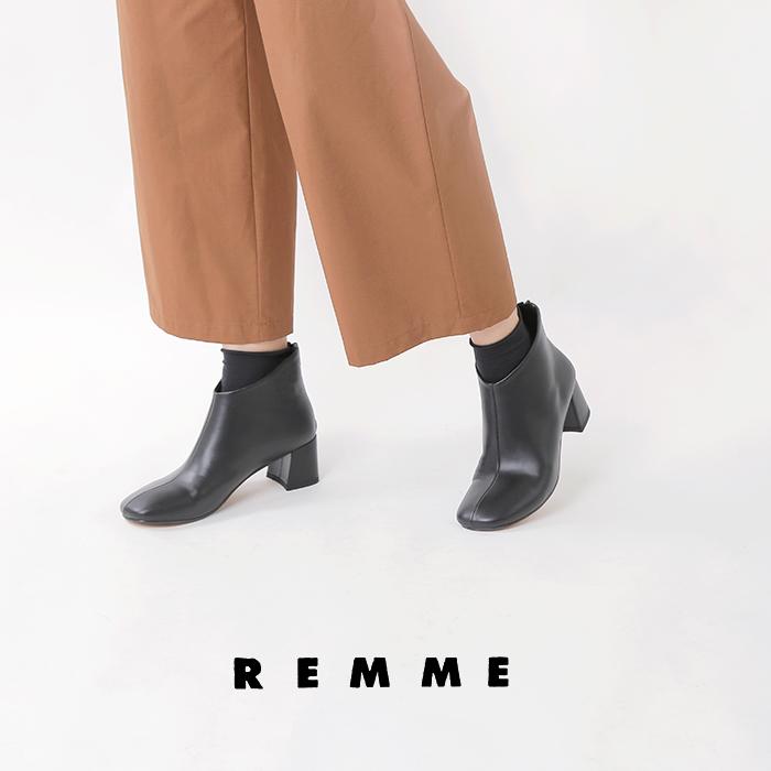 "REMME(レメ)マットレザースクエアートゥーショートブーツ""SETA"" zh-rec008-se"