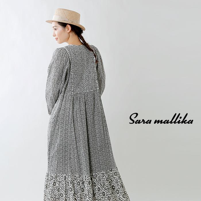 Sara Mallika(サラマリカ)コットンルレックス ダブルフラワープリント切替Vネックワンピース 020411sa1