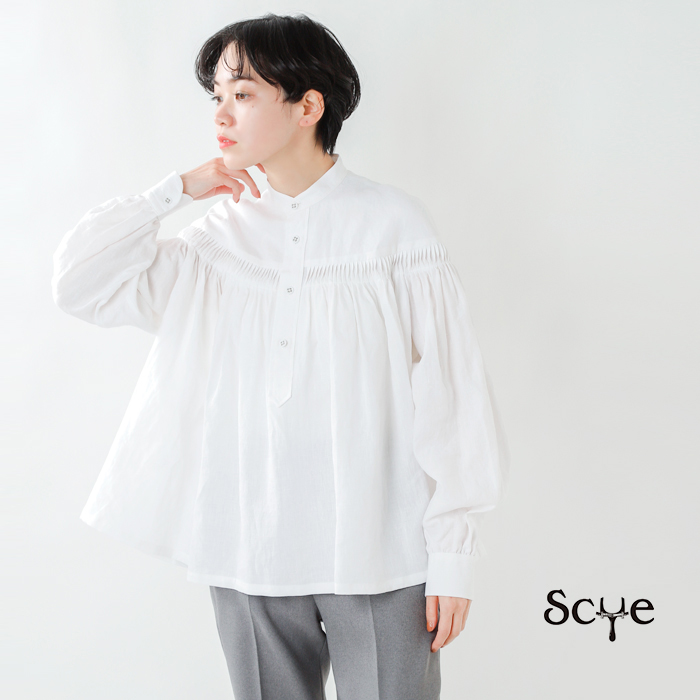 Scye(サイ)リネン高密度長袖ピンタックブラウス 1221-31005