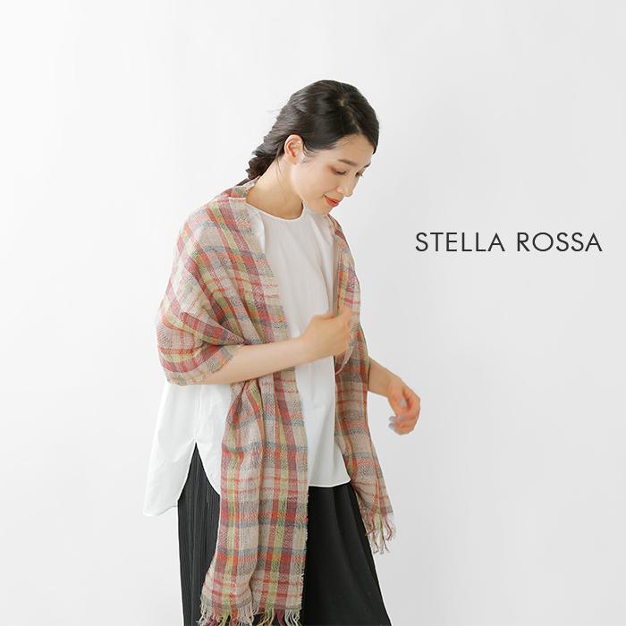 STELLAROSSA(ステラロッサ)リネンチェック柄ストール1255