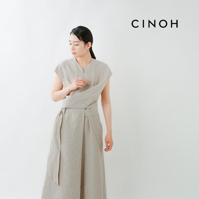 CINOH(チノ)リネンコットンドレープ スリーブレスドレスワンピース 21sop001