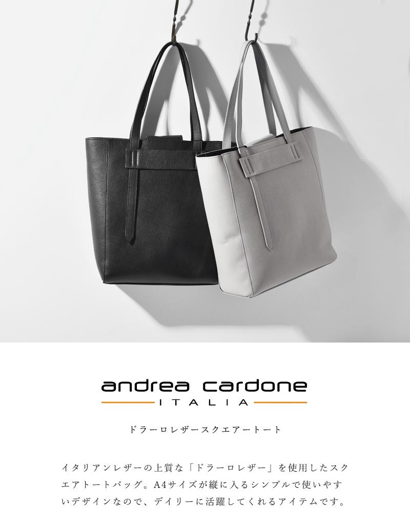Andrea Cardone(アンドレアカルドネ)ドラーロレザースクエアートートバッグ 96-and-1417