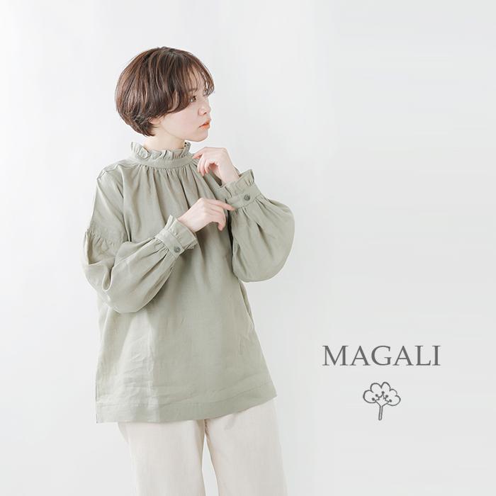 MAGALI(マガリ)フレンチリネンフリルギャザープルオーバー bl153