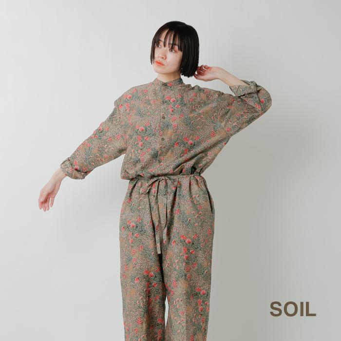 SOIL(ソイル)コットンシルクフラワープリントバンドカラーオーバーオール nsl21054