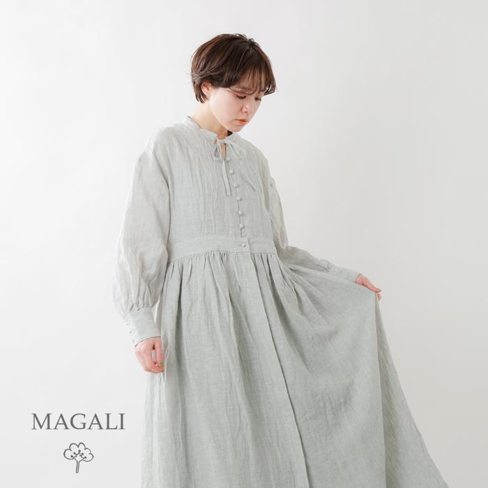 MAGALI(マガリ)シャンブレーリネン比翼ギャザーワンピース op157