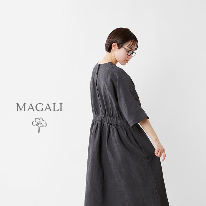 MAGALI(マガリ)スラブリネンギャザーワンピースop159