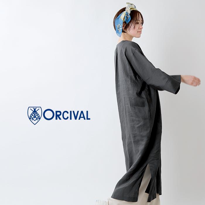 ORCIVAL(オーチバル・オーシバル)70sリネンスキッパードレスワンピース rc-3796ylf