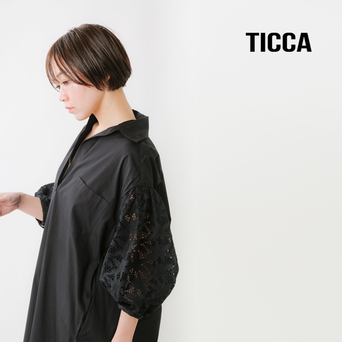 TICCA(ティッカ)コットンレースパフスリーブワンピース tbas-154