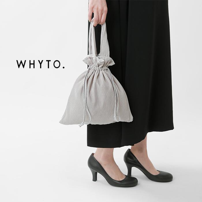 whyto(ホワイト)サテンプリーツ巾着ハンドバッグwht21hac1