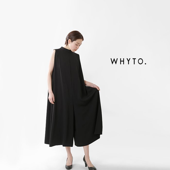 whyto(ホワイト)ダブルサテンスタンドカラーノースリーブドレープオールインワンwht21hpt2